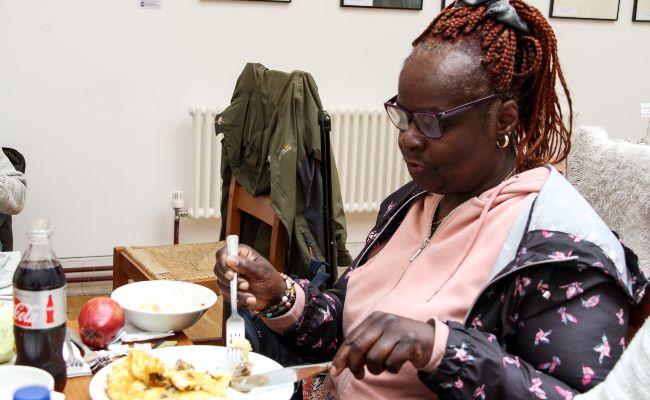 Lady eating dinner