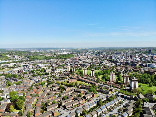 Aerial view of Sheffield