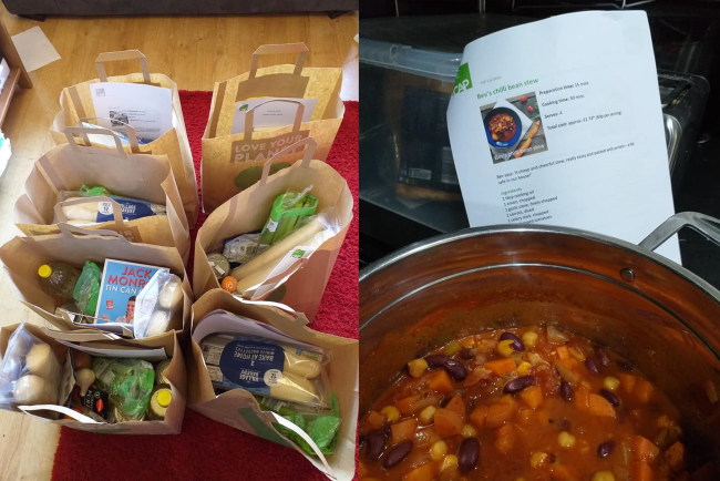 Two photos, one of bags of shopping with ingredients inside, and one of a large pot of bean stew with the recipe in the background