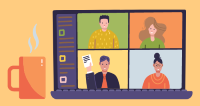 An illustration of a computer with faces showing on it in a video call.