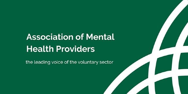 """White text on green """"Association of Mental Health Providers. The leading voice of the voluntary sector."""